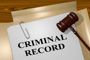 Criminal Record Folder with Gavel